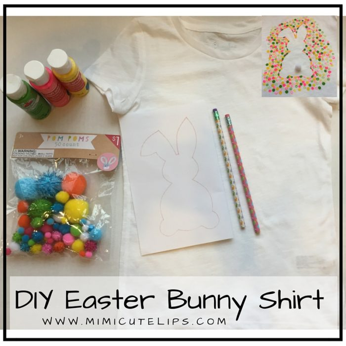 DIY Easter Bunny Shirt Materials- Shirt, Bunny stencil, Paint, Pencil w- eraser & pom pom