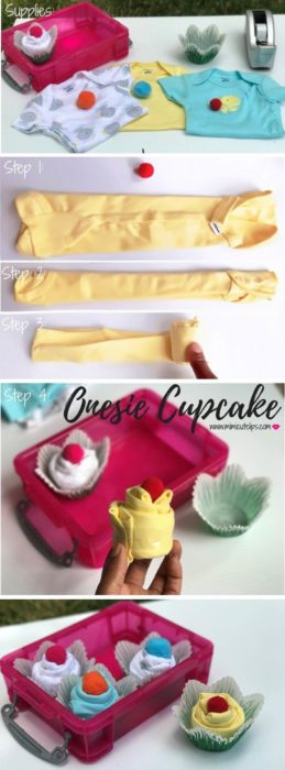 DIY Onesie Cupcake DIY Baby Shower Gifts