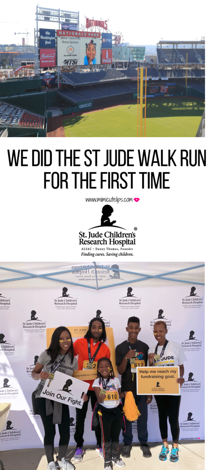 Lifestyle Media Correspondent MimiCuteLips did the St. Jude Walk Run DC to end childhood cancer in Washington, DC at the Nationals Park. #CCAM #StJude