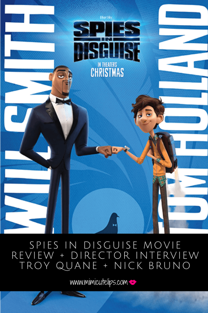 Spies in Disguise Movie review + interview with movie directors Troy Quane and Nick Bruno. Spies in Disguise opens on Christmas Day #SpiesInDisguise